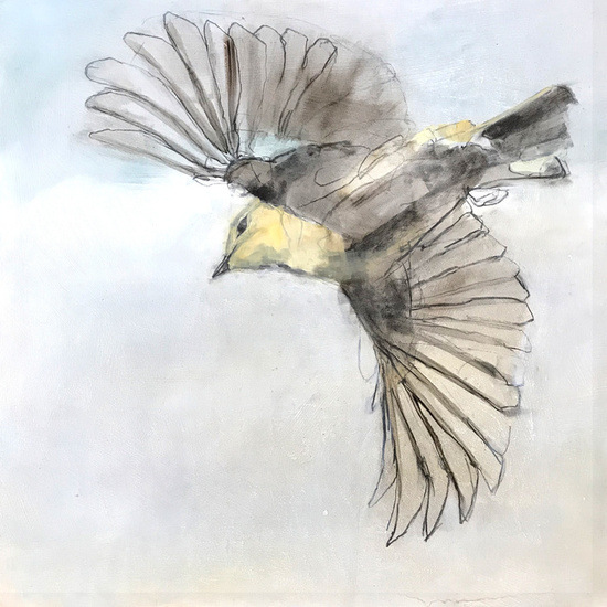 Painting of Golden-crowned Kinglet by Lee Cline