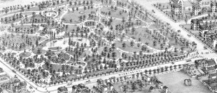 This rendering shows Lafayette Park in St. Louis as it appeared in the 1870s, when Carl Daenzer released the Eurasian Tree Sparrow in it.