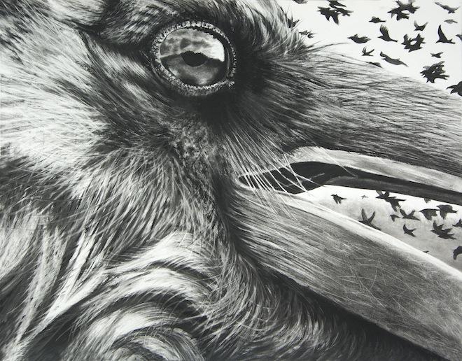 Karen Bondarchuk, Portent, 2012, charcoal on Rives paper.