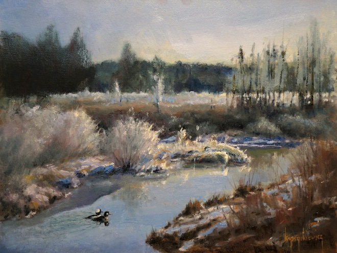 David Kapszukiewicz, Cruising Down Rocky Run Creek, 2013, oil on canvasboard.