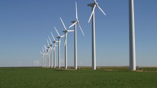 The Brazos Wind Farm, also known as the Green Mountain Energy Wind Farm, near Fluvanna, Texas. From Wikimedia Commons.