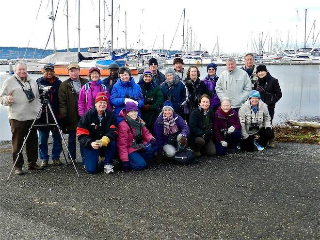 Casual Birders of the Delta Naturalists' Society at Drayton Harbor, Blaine, Washington, January 6, 2014. Photo by Ken Borrie.