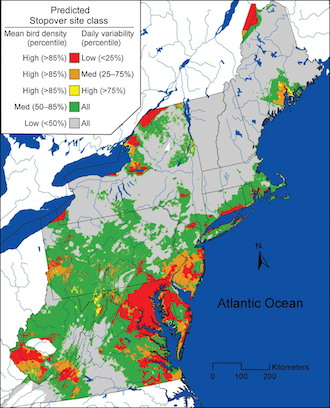 Map of regionally classified (i.e. data pooled across 16 WSR-88D sites) mean GWR-predicted bird stopover density during fall 2008 and 2009. From Jeffrey J. Buler and Deanna K. Dawson (2014) Radar analysis of fall bird migration stopover sites in the northeastern U.S. The Condor: Ornithological Applications, Volume 116, pp. 357–370.