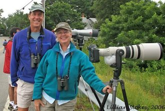 Don and Lillian Stokes viewing the Western Reef-Heron in New Hampshire, August 2006. Photo courtesy of Stokes Birding Blog.