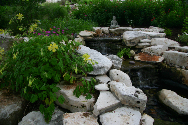 100 TYPES OF PLANTS: Yellow longspur columbine, purple wine cup flowers, and red autumn sage bloom beside a tiered waterfall in Jim and Lynne Weber's front yard. Photo by Jim and Lynne Weber